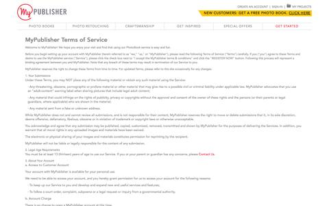 Screenshot of Terms Page mypublisher.com - Photo Books - captured Oct. 28, 2014
