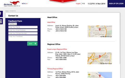 Screenshot of Contact Page damacai.com.my - Contact Us - captured Nov. 4, 2014