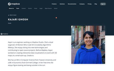 Screenshot of Team Page mapbox.com - Kajari Ghosh   Mapbox - captured Feb. 19, 2019