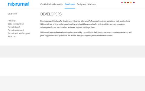 Screenshot of Developers Page nibirumail.com - Nibirumail for Developers - captured June 26, 2016