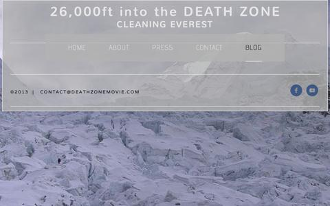 Screenshot of Blog deathzonemovie.com - BLOG — 26,000ft into the DEATH ZONE - captured Oct. 5, 2014