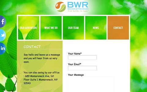 Screenshot of Contact Page bwrgroup.com - Contact | BWR - Brands Within Reach, Drink healthy, live happy - captured Oct. 5, 2014