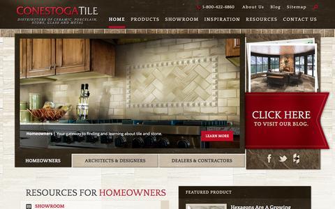 Screenshot of Home Page conestogatile.com - Supplier of Ceramic, Porcelain, Natural Stone and Glass Tile   Conestoga Tile - captured Jan. 30, 2016