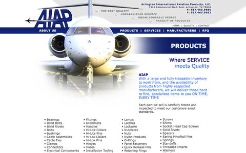Screenshot of Products Page aiapinc.com - Commercial Aircraft Products   Business Airplane Parts - captured Aug. 19, 2019