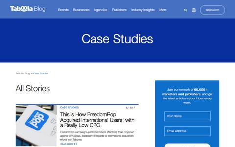 Screenshot of Case Studies Page taboola.com - Case Studies Archives - Page 3 of 6 - Taboola Blog - captured April 13, 2018