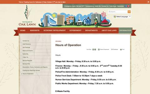 Screenshot of Hours Page oaklawn-il.gov - Village of Oak Lawn : Hours of Operation - captured Oct. 26, 2014