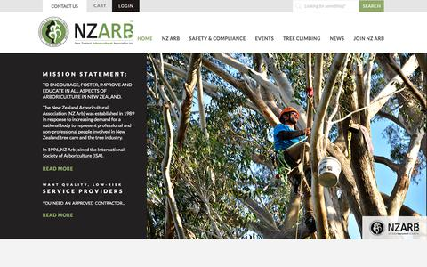 Screenshot of Home Page nzarb.org.nz - NZ Arboricultural Association Inc | Arborists | Approved Contractors - captured Feb. 24, 2018