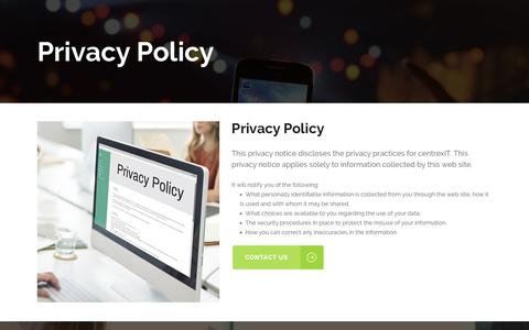 Screenshot of Privacy Page centrexit.com - Privacy Policy - San Diego's Leader in IT Management and IT Consulting - centrexIT - captured Oct. 4, 2016