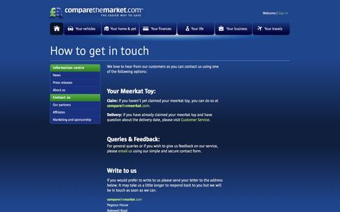 Screenshot of Contact Page comparethemarket.com - Contact Us - Contact us by letter or email | Compare The Market - captured Sept. 18, 2014