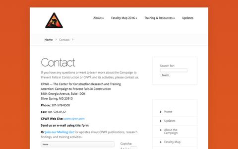 Screenshot of Contact Page stopconstructionfalls.com - Contact | Stop Construction Falls - captured May 25, 2016