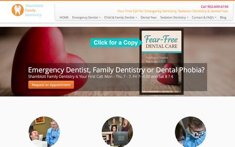 Screenshot of Home Page shamblottfamilydentistry.com - Shamblott Family Dentistry, Emergency Dentist, Hopkins Dentist, Sedation, Dental Fear - captured Dec. 21, 2016