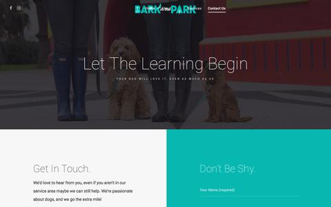 Screenshot of Contact Page barkinthepark.com.au - contact us service areas dog walking and training bark in the park melbourne - captured May 31, 2017