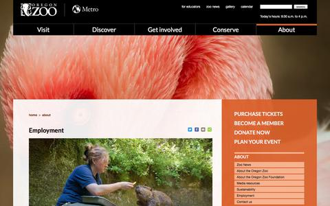 Screenshot of Jobs Page oregonzoo.org - Employment | Oregon Zoo - captured Sept. 23, 2018