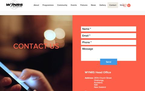 Screenshot of Contact Page wynrs.co.nz - WYNRS | Contact - captured Oct. 31, 2018