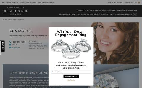 Screenshot of Contact Page diamondnexus.com - Customer Service - captured Feb. 9, 2016