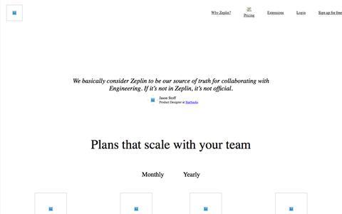 Screenshot of Pricing Page zeplin.io - Pricing | Zeplin - captured June 21, 2018
