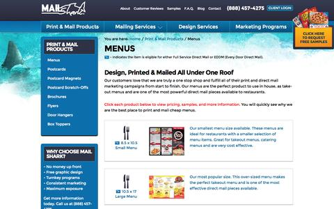 Screenshot of Menu Page themailshark.com - Menu Printing Services - 3 Sizes Including 10.5x17 | Mail Shark - captured Oct. 3, 2014