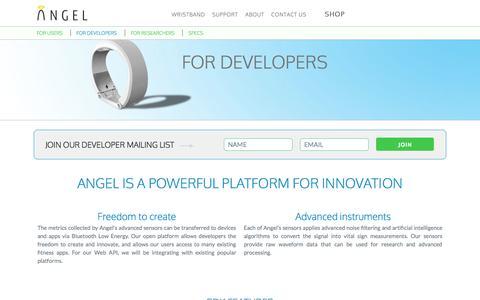 Screenshot of Developers Page angelsensor.com - For Developers   Angel open sensor wristband - captured Nov. 1, 2014