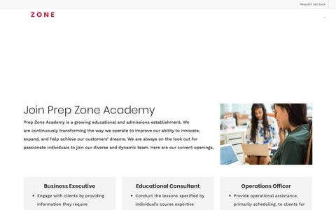 Screenshot of Jobs Page prep-zone.sg - Careers at Prep Zone Academy™| Join Us - captured July 21, 2018