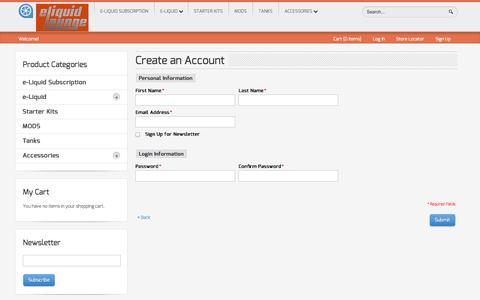 Screenshot of Signup Page eliquidlounge.com - Create New Customer Account - captured Oct. 28, 2014
