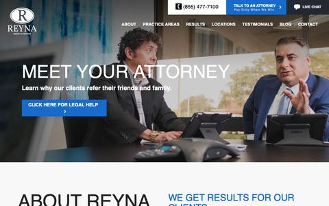 Screenshot of About Page reynainjurylaw.com - About Reyna Injury Lawyers | Why Choose Our Firm? - captured Nov. 10, 2018