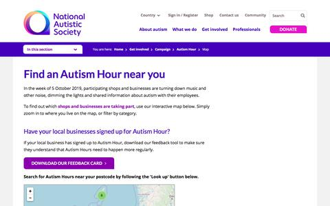 Screenshot of Maps & Directions Page autism.org.uk - Find your nearest Autism Hour - Interactive map - National Autistic Society - captured Oct. 11, 2019