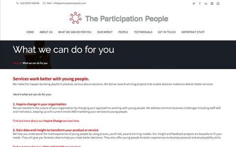 Screenshot of Services Page participationpeople.com - What we can do for you - captured July 16, 2018