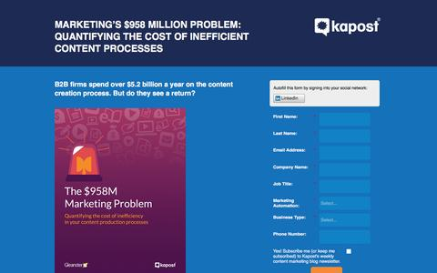 Screenshot of Landing Page kapost.com - Quantifying the Cost of Inefficient Content Processes - captured March 14, 2016