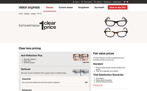 Screenshot of Pricing Page visionexpress.com - Anti-Reflection Lenses   Varifocal Lenses   Vision Express - captured June 13, 2017