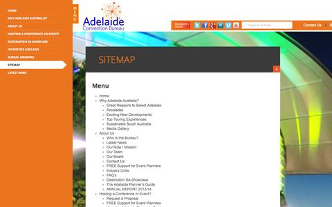 Screenshot of Site Map Page adelaideconvention.com.au - Sitemap | Adelaide Convention Bureau - captured Oct. 4, 2014