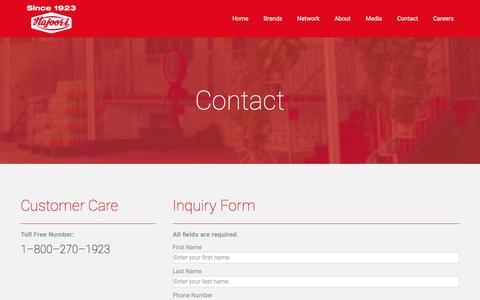 Screenshot of Contact Page hajoori.com - Hajoori  | Contact - captured Jan. 24, 2016