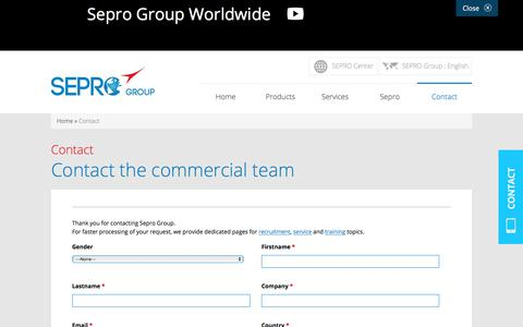 Screenshot of Contact Page sepro-group.com - Contact sales department - Sepro group - Worldwide - captured Nov. 22, 2019