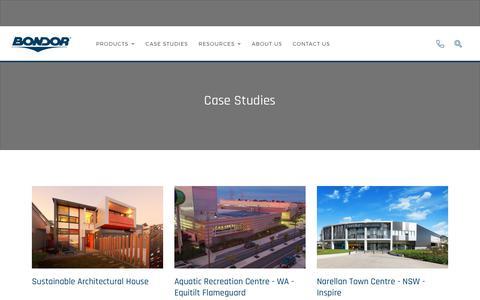 Screenshot of Case Studies Page bondor.com.au - Case Studies | - captured Aug. 3, 2018