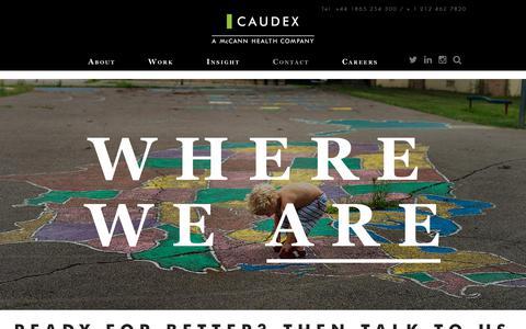 Screenshot of Locations Page caudex.com - Locations | Caudex - Specialists in healthcare marketing & consultancy - captured Dec. 14, 2018