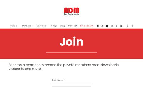 Screenshot of Signup Page ausdigitalmedia.com - Join - Aus Digital Media - captured July 31, 2018