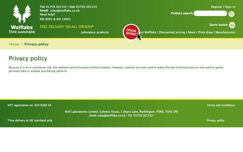 Screenshot of Privacy Page wolflabs.co.uk - Wolf Laboratories :: Laboratory Equipment Suppliers - captured Oct. 26, 2014