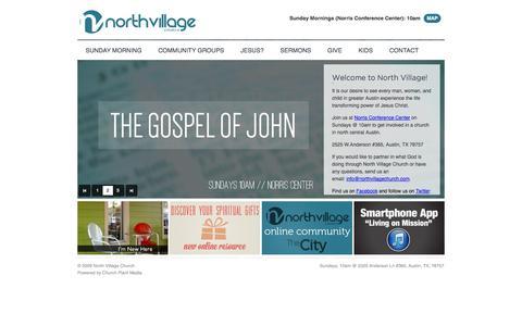 Screenshot of Home Page northvillagechurch.com - North Village Church: Austin, TX - captured Sept. 30, 2014