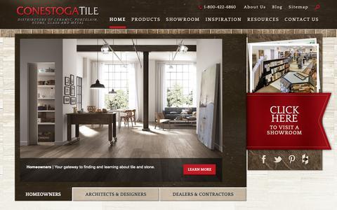 Screenshot of Home Page conestogatile.com - Supplier of Porcelain Tile, Ceramic Tile and Natural Stone   Conestoga Tile - captured Sept. 29, 2018