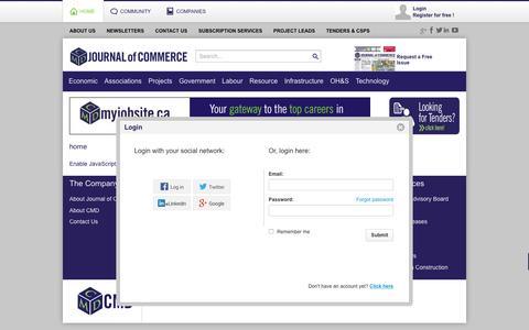Screenshot of Login Page journalofcommerce.com - Journal Of Commerce - Login - captured March 3, 2016