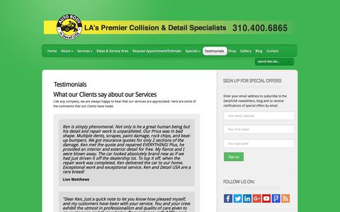 Screenshot of Testimonials Page detailusa.net - Testimonials about Detail USA a Los Angeles Mobile Auto Detailing and Repair Services | Detail USA - captured Aug. 6, 2018
