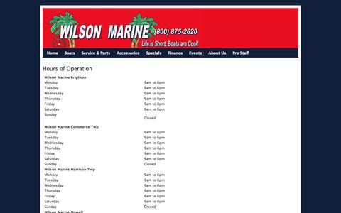 Screenshot of Hours Page wilsonboats.com - Hours of Operation, Wilson Marine Locations & Store Hours - captured Oct. 26, 2014