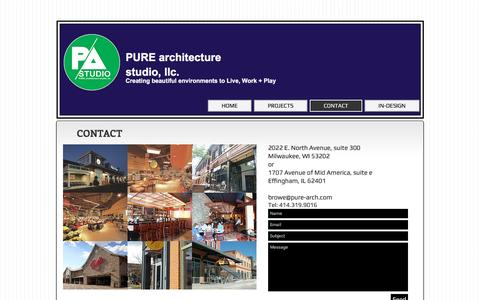 Screenshot of Contact Page pure-arch.com - Contact Pure Architecture Studio - captured Jan. 28, 2017