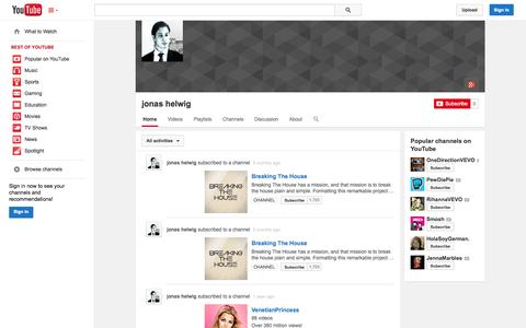Screenshot of YouTube Page youtube.com - jonas helwig  - YouTube - captured Oct. 22, 2014