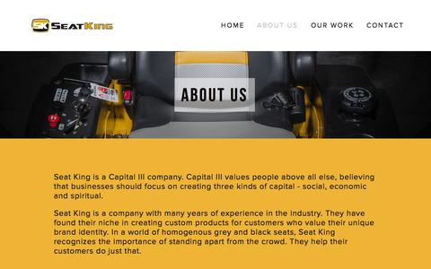 Screenshot of About Page seatkingllc.com - About Us — Seat King LLC - captured Oct. 29, 2014