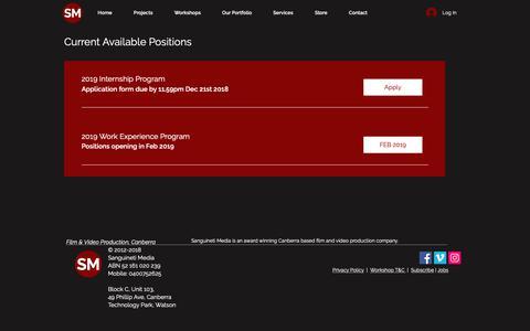 Screenshot of Jobs Page sanguinetimedia.com.au - Sanguineti Media | Jobs - captured Dec. 8, 2018