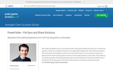 Screenshot of Case Studies Page avangate.com - PowerFolder - File Sync and Share Solutions - captured Sept. 19, 2018