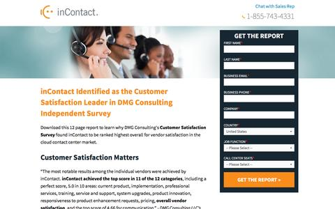 Screenshot of Landing Page incontact.com - Cloud-Based Contact Center Infrastructure Report - DMG - captured Aug. 18, 2016