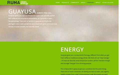 Screenshot of FAQ Page runa.org - Runa   Guayusa - captured Sept. 23, 2014