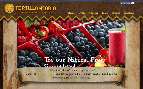 Screenshot of Home Page tortillamaria.com - Organic Mexican Restaurant | Gluten Free | Vegan | Tortilla Maria - Greenville SC - captured Jan. 27, 2015