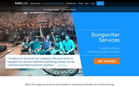 Screenshot of tunecore.com - Collect your Music Royalties | Publishing Administration - captured Nov. 6, 2017